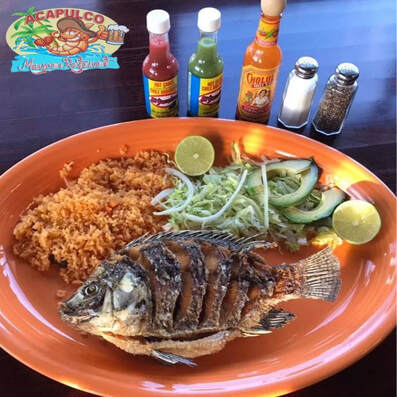 Pescado on plate at Acapulco Mexican Restaurant